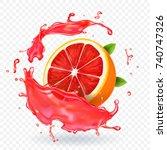 grapefruit juice splash fruit... | Shutterstock .eps vector #740747326