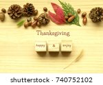happy thanksgiving tag with... | Shutterstock . vector #740752102
