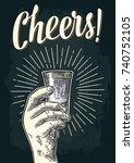male hand holding glass vodka.... | Shutterstock .eps vector #740752105