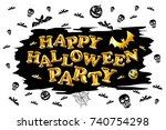 raster copy halloween party... | Shutterstock . vector #740754298