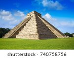 chichen itza pyramid el templo... | Shutterstock . vector #740758756