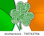 flag of ireland and shamrock... | Shutterstock .eps vector #740763706