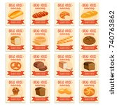 card template food with bread...   Shutterstock .eps vector #740763862