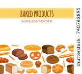 seamless border with bread... | Shutterstock .eps vector #740763895