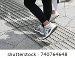 the pedestrian walking on... | Shutterstock . vector #740764648