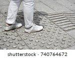the pedestrian walking on... | Shutterstock . vector #740764672