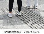 the pedestrian walking on... | Shutterstock . vector #740764678
