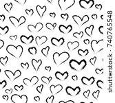 black heart sketches  raster... | Shutterstock . vector #740765548
