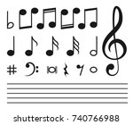 Stock vector vector icons set music note 740766988