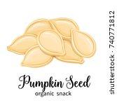 vector pumpkin seeds in cartoon ... | Shutterstock .eps vector #740771812