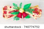 christmas fir tree with lights... | Shutterstock . vector #740774752