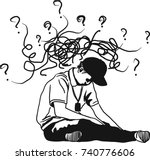 vector art drawing of depressed ... | Shutterstock .eps vector #740776606