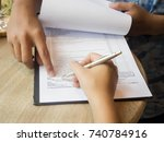 the human hand  agent of the... | Shutterstock . vector #740784916