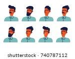 set of man's emotions. facial... | Shutterstock .eps vector #740787112