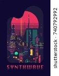 synthwave flat vector concept... | Shutterstock .eps vector #740792992