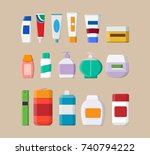 set of various color cosmetic... | Shutterstock .eps vector #740794222