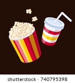 popcorn with drink | Shutterstock .eps vector #740795398
