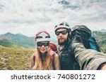 couple hikers man and woman... | Shutterstock . vector #740801272