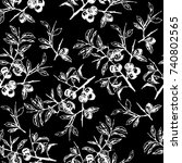 seamless floral black and white ... | Shutterstock .eps vector #740802565