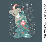 cute koala  christmas... | Shutterstock .eps vector #740803672