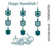 jewish holiday hanukkah ... | Shutterstock .eps vector #740804056