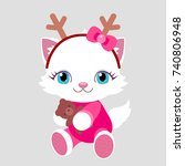 new year. cat with gift in...   Shutterstock .eps vector #740806948