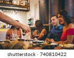 meeting of young people new... | Shutterstock . vector #740810422