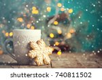 christmas or new year... | Shutterstock . vector #740811502