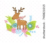 hello. greeting card with... | Shutterstock .eps vector #740821015