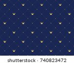 navy blue seamless pattern in... | Shutterstock .eps vector #740823472