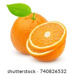 orange isolated. one whole... | Shutterstock . vector #740826532