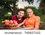 indian father with handsome son....   Shutterstock . vector #740827102