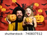 father and daughter in costumes.... | Shutterstock . vector #740837512