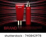 cosmetic ad template  serum... | Shutterstock .eps vector #740842978