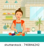 smiling woman cooking healthy... | Shutterstock .eps vector #740846242