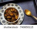 bitter gourd fry | Shutterstock . vector #740850115