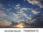 beautiful blue sky with clouds... | Shutterstock . vector #740850472