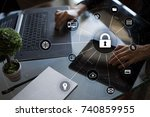 cyber security  data protection.... | Shutterstock . vector #740859955
