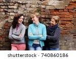 outdoor portrait of happy 40... | Shutterstock . vector #740860186