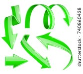 green arrows. set of shiny... | Shutterstock .eps vector #740860438