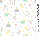 seamless baby pattern in pastel ... | Shutterstock .eps vector #740865442