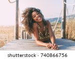 beautiful young black woman... | Shutterstock . vector #740866756