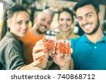 defocused bokeh of drunk...   Shutterstock . vector #740868712