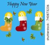 bitcoin. digital currency.... | Shutterstock .eps vector #740873236