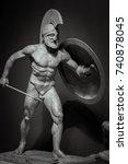 man in helmet greek ancient... | Shutterstock . vector #740878045