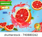 grapefruits juice advertising.... | Shutterstock .eps vector #740880262