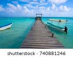 mahahual caribbean beach pier... | Shutterstock . vector #740881246