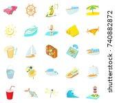 sea trip icons set. cartoon set ... | Shutterstock .eps vector #740882872