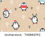 Stock vector seamless pattern with penguins vector illustration 740883592