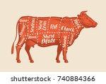 meat cut charts. cow  butcher... | Shutterstock .eps vector #740884366